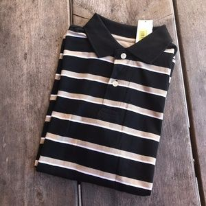 Boys First Wave Striped Collared Polo Shirt Black